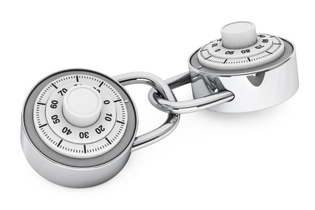 crime prevention: To Linked Padlocks with Combination Lock on a white background. 3d Rendering Stock Photo