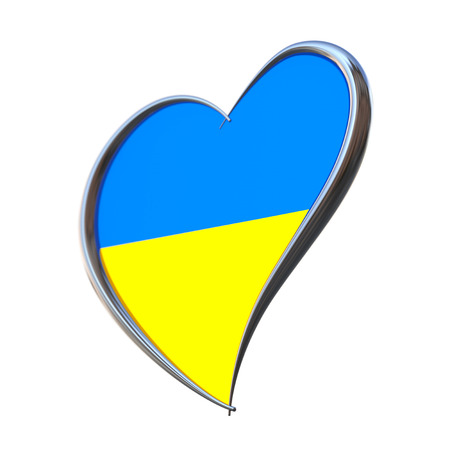 contest: Ukraine Flag Inside Heart. Eurovision Song Contest 2017 in Ukraine on a white background. 3d Rendering Stock Photo
