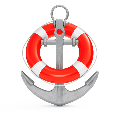Nautical Anchor with Lifebuoy on a white background. 3d Rendering Stock Photo