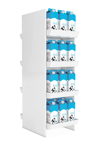 shelf: Milk Carton Boxes in Store Shelf on a white background. 3d Rendering