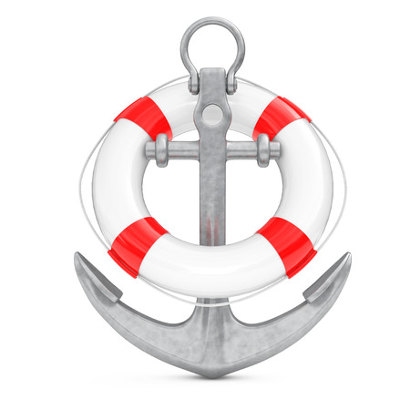 navy pier: Nautical Anchor with Lifebuoy on a white background. 3d Rendering Stock Photo