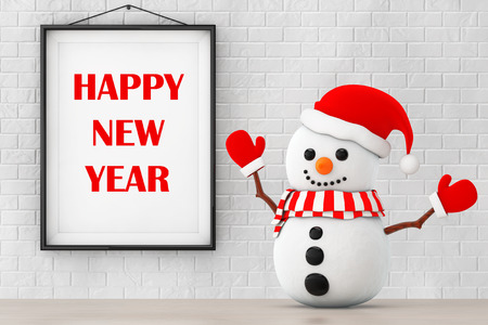 ice brick: Snowman in front of Brick Wall with Frame Happy New Year Sign extreme closeup. 3d Rendering