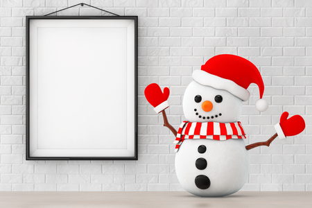 ice brick: Snowman with Santa Hat and Gloves in front of Brick Wall with Blank Frame extreme closeup. 3d Rendering