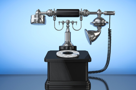 corded: Retro Phone. Vintage Telephone on a blue background. 3d Rendering