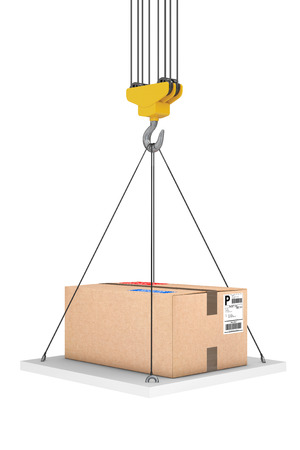 Crane Hook Lifts the Platform with Parcel on a white background. 3d Rendering Stock Photo