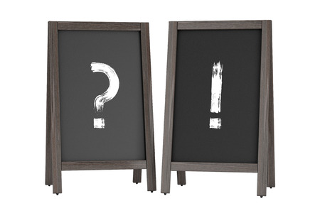 restaurant questions: Wooden Menu Blackboard Outdoor Displays with Question and Exclamation Marks on a white background. 3d Rendering