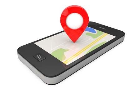 Navigation via Smartphone. Location Pointer on Phone with Map on a white background. 3d Rendering Stock Photo