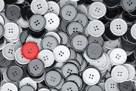 sewing buttons: Sewing Buttons background. Black and White Sewing Buttons with One Red extreme closeup. 3d Rendering