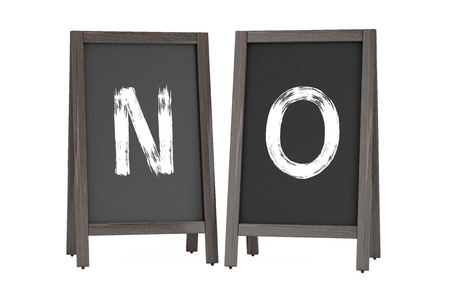 bordering: Wooden Menu Blackboard Outdoor Displays with No Sign on a white background. 3d Rendering