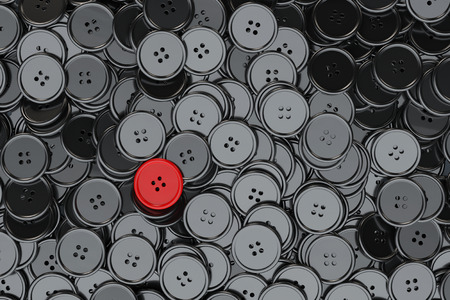 sewing buttons: Sewing Buttons background. Black Sewing Buttons with One Red extreme closeup. 3d Rendering Stock Photo