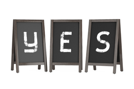 bordering: Wooden Menu Blackboard Outdoor Displays with Yes Sign on a white background. 3d Rendering