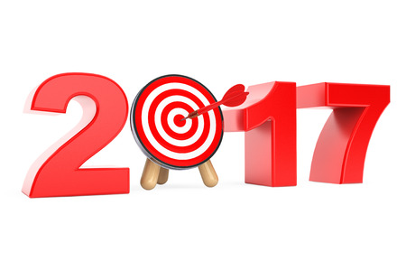 Darts Target as 2017 year Sign on a white background. 3d Rendering