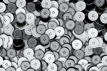 sewing buttons: Sewing Buttons background. Black and White Sewing Buttons extreme closeup. 3d Rendering