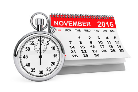 november calendar: 2016 year calendar. November calendar with stopwatch on a white background. 3d rendering Stock Photo