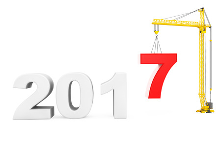 new construction: Build the Future Concept. Tower Crane with 2017 Year Sign on a white background. 3d Rendering