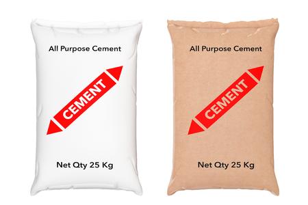Papieren zakken cement zakken op een witte achtergrond. 3D-rendering