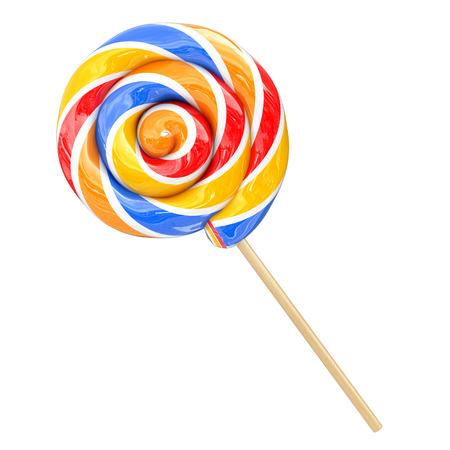 Rainbow Swirl Lollipop on a white background. 3d Rendering
