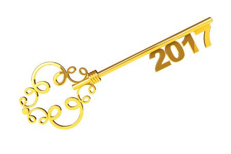 meses del a  ±o: Clave de la vendimia de oro con 2017 años signo sobre un fondo blanco. Representación 3D Foto de archivo