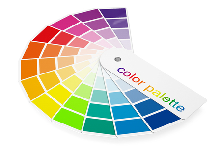 sampler: Color Palette Guide on a white background. 3d Rendering Stock Photo