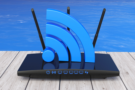wireless: Wireless  Router in front of Ocean extreme closeup. 3d Rendering Stock Photo