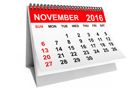 november calendar: 2016 year calendar. November calendar on a white background. 3d rendering
