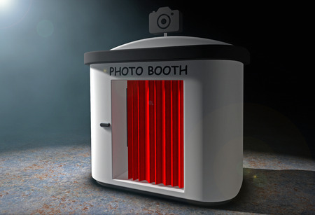 Photo Booth with Red Curtain in the volumetric light on a black background. 3d Rendering