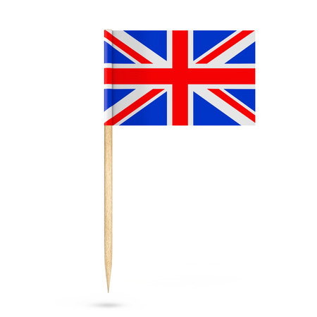 Mini Paper United Kingdom Pointer Flag on a white background. 3d Rendering
