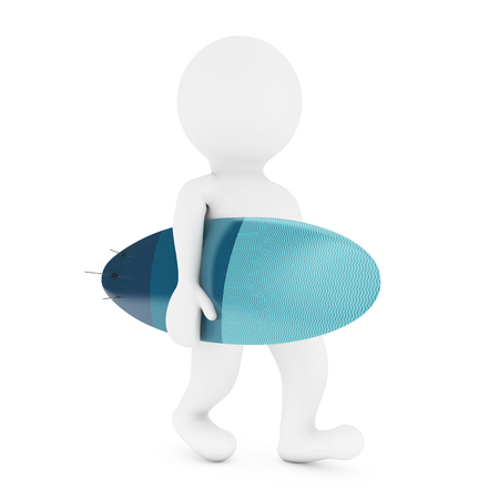 3d small person: 3d Small Person with Modern Surfboard on a white background. 3d Rendering