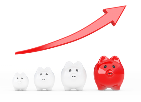 Save Money Concept. Piggy Banks with Progress Arrow on a white background. 3d Rendering