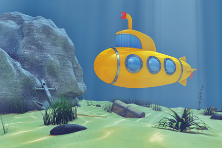 Ocean Underwater World with Cartoon Styled Submarine extreme closeup. 3d Rendering