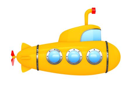 Juguetes de dibujos animados labró el submarino sobre un fondo blanco. Representación 3d