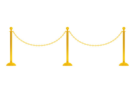 Closeup Golden Chain Barrier Stand on a white background. 3d Rendering