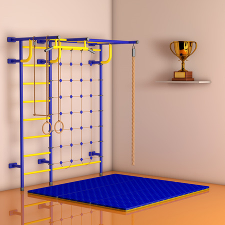 wall bars: Sports Playground Wall Bars for children against a wall in the room. 3d Rendering