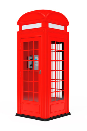 phonebox: Classic British Red Phone Booth on a white background. 3d Rendering Stock Photo