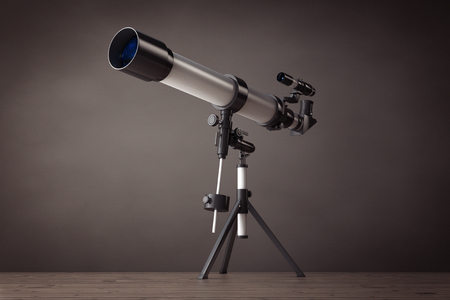 eyepiece: Telescope on Tripod on a vintage wooden floor. 3d Rendering Stock Photo