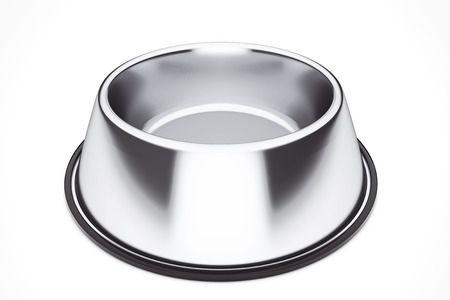 empty bowl: Empty Pets Bowl on a white background. 3d Rendering Stock Photo