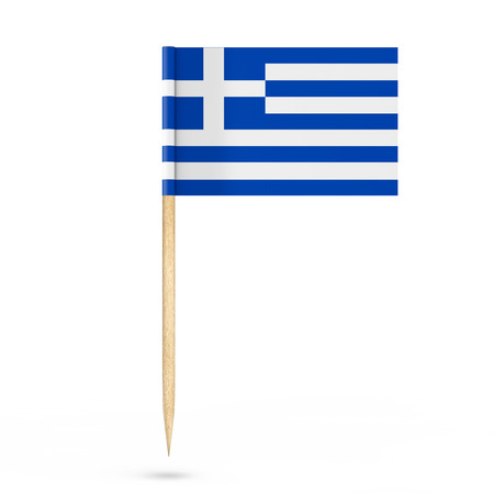 mini: Mini Paper Greece Pointer Flag on a white background. 3d Rendering