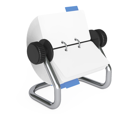 index: Rotary Desk Card Index on a white background. 3d Rendering