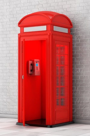 Classic British Red Phone Booth in front of brick wall. 3d Rendering