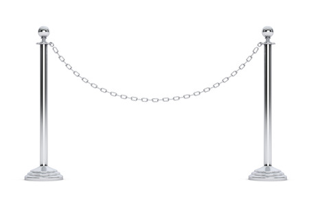 Closeup Chain Barrier Stand on a white background. 3d Rendering Stock Photo