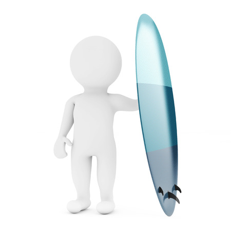 3d Small Person with Modern Surfboard on a white background. 3d Rendering