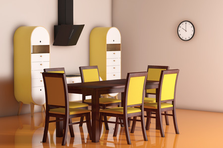 olive green: Simple Modern Olive - Green Kitchen with table and chairs extreme closeup. 3d Rendering