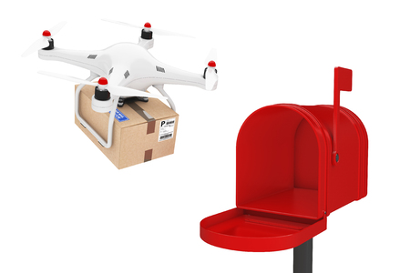 Parcel Shipping Concept. Quadrocopter Drones Delivering a Parcel in Mail Box on a white background. 3d Rendering