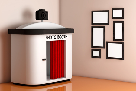 Photo Booth in front of Wall with Blank Picture Frames extreme closeup. 3d Rendering