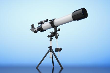 eyepiece: Telescope on Tripod on blue background. 3d Rendering