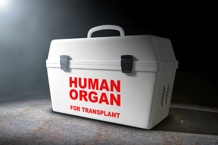 Fridge Box for transporting Human Donor Organs in the volumetric light on a black background. 3d Rendering