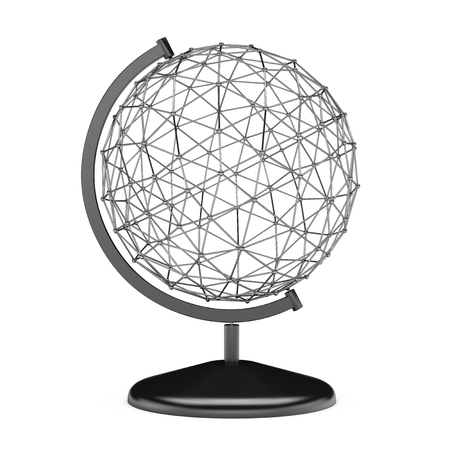 wire globe: Wire Earth Globe Stand on a white background. 3d Rendering