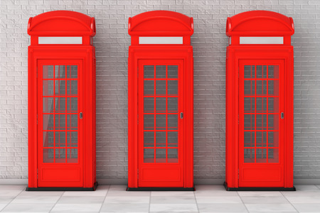 phonebox: Classic British Red Phone Booth in front of brick wall. 3d Rendering