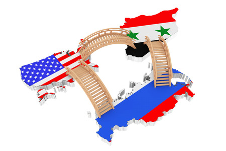 Bridges between USA, Russia and Syria Maps on a white background. 3d Rendering
