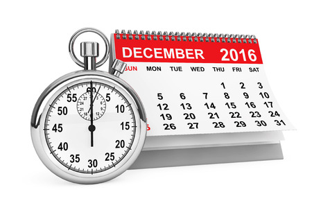december calendar: 2016 year calendar. December calendar with stopwatch on a white background. 3d rendering Stock Photo